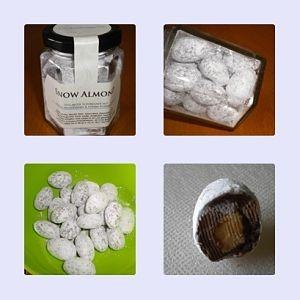 Mandelkern umhüllt mit Vollmichschokolade gepudert mit Puderzucker