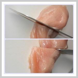 Fleisch wird mit dem KochLand Messer sanft durchtrennt.