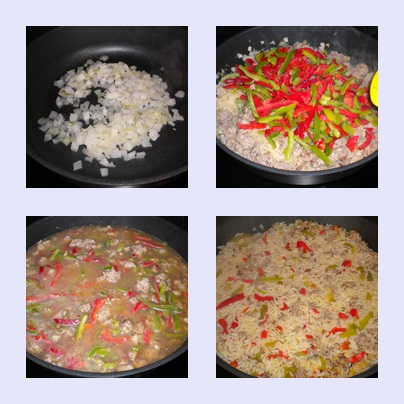 Ein beliebtes Mittagessen die Reispfanne.